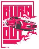 Coche de la quemadura, deporte japonés de la deriva, JDM, stock de ilustración