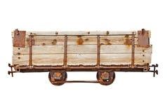 Coche de madera del vintage para el ferrocarril del estrecho-indicador Fotos de archivo