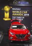 Coche de Mazda 3 en el salón del automóvil 2014 del International de Nueva York Fotos de archivo libres de regalías