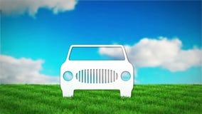 Coche de papel en campo de hierba 3D rinden la animación