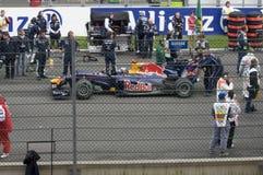 Coche de Red Bull en la raza de fórmula 1 Fotografía de archivo