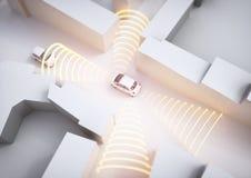 Coche de Selfdriving en la acción - representación 3D Fotografía de archivo