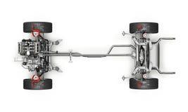 Coche de SUV bajo representación técnica del carro 3 D Visión superior stock de ilustración