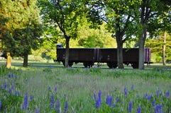 Coche de tren del cargo en campo del tránsito de Westerbork fotos de archivo