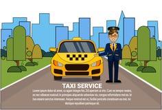 Coche del automóvil del taxi de Standing At Yellow del conductor del concepto del servicio del taxi sobre fondo de la ciudad de l Imagen de archivo