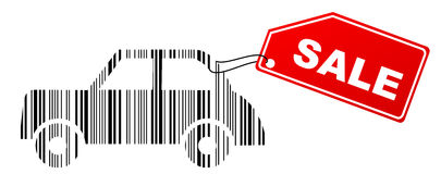 Coche del código de barras con la escritura de la etiqueta de la venta Imagen de archivo