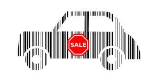 Coche del código de barras con la etiqueta engomada de la venta Imagenes de archivo