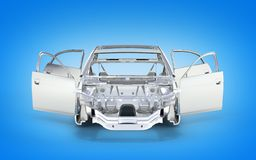 Coche del cuerpo sin el voew delantero de la rueda aislado en el fondo azul 3d ilustración del vector