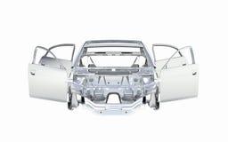 Coche del cuerpo sin voew delantero de la rueda sin la sombra aislada en el fondo blanco 3d ilustración del vector