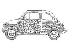 Coche del hippie Pequeño coche lindo con las flores libre illustration