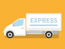 Coche del servicio de entrega en fondo anaranjado Fotos de archivo libres de regalías