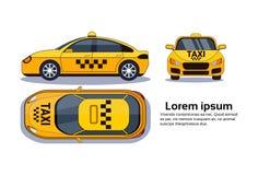 Coche del taxi en el fondo blanco aislado top, lado y Front View Over Copy Space Foto de archivo libre de regalías