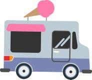 Coche del vector que vende el helado en un fondo blanco stock de ilustración