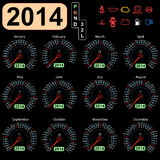 coche del velocímetro del calendario de 2014 años Fotos de archivo libres de regalías