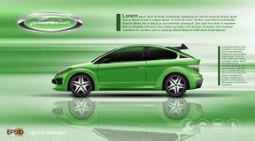 Coche del verde del vector de Digitaces con la maqueta negra de las ventanas stock de ilustración