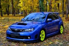 Coche deportivo del coche de carreras del STI de Subaru Impreza WRX Foto de archivo libre de regalías
