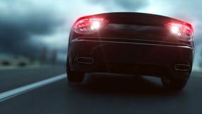 Coche deportivo negro en el camino, carretera Conducción muy rápida Ambiente oscuro Animación realista estupenda 4K almacen de metraje de vídeo