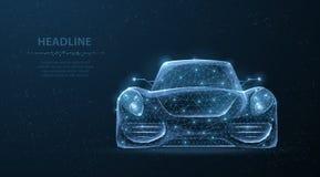 Coche Coche deportivo polivinílico bajo del wireframe poligonal abstracto 3d en el cielo nocturno azul con las estrellas Fotos de archivo