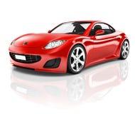 coche deportivo rojo 3D en el fondo blanco Fotos de archivo libres de regalías
