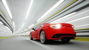 coche deportivo rojo en un túnel Conducción rápida Concepto del aceite representación 3d Foto de archivo