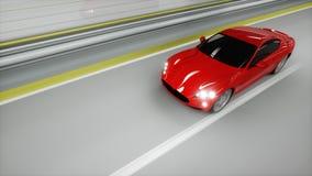coche deportivo rojo en un túnel Conducción rápida Concepto del aceite representación 3d Fotos de archivo