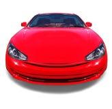 Coche deportivo rojo feliz. Aislado. Fotos de archivo