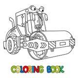 Coche divertido del compresor del asfalto con el libro de colorear del ojo ilustración del vector