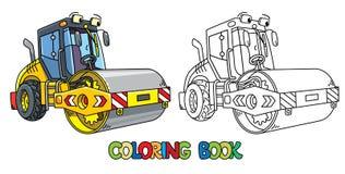 Coche divertido del compresor del asfalto con el libro de colorear del ojo stock de ilustración