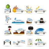 Coche e iconos del seguro y del riesgo de transporte Imagen de archivo libre de regalías