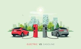 Coche eléctrico contra el coche de la gasolina ilustración del vector
