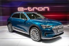 Coche eléctrico 2019 de Audi e-Tron SUV fotografía de archivo libre de regalías