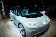 Coche eléctrico del concepto de Volkswagen en CES 2017 Fotografía de archivo libre de regalías
