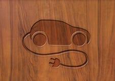 Coche eléctrico en la madera Fotografía de archivo