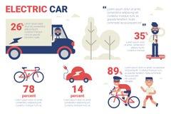 Coche eléctrico infographic Imagenes de archivo