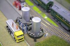 Coche, el tanque, ferrocarril, miniatura Fotos de archivo