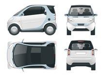 Coche elegante compacto del vector Pequeño vehículo híbrido compacto stock de ilustración