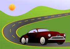 Coche en el camino ilustración del vector