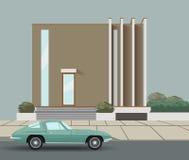 Coche en el camino y la casa Ilustración del vector Imagen de archivo