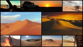 Coche en el desierto del Sáhara, collage de la cámara almacen de video