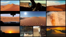 Coche en el desierto del Sáhara, collage de la cámara metrajes