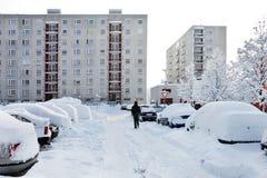 Coche en invierno fotografía de archivo