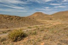 Coche en un camino de tierra, Guelmim-Es Semara, Marruecos imagen de archivo