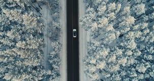 Coche en una carretera nacional del invierno en la opinión aérea del bosque nevoso 4K almacen de video