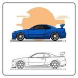 Coche estupendo azul ilustración del vector