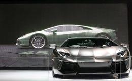 Coche estupendo negro de Lamborghini imagenes de archivo