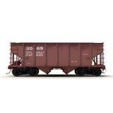 Coche ferroviario de la tolva en el ejemplo blanco 3D Foto de archivo libre de regalías