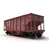 Coche ferroviario de la tolva en el fondo blanco Foto de archivo