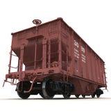 Coche ferroviario de la tolva en el fondo blanco Fotografía de archivo libre de regalías