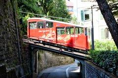 Coche funicular en el puente Fotografía de archivo libre de regalías