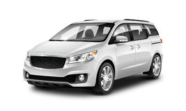 Coche genérico metálico blanco del minivan en el fondo blanco Opinión de perspectiva ejemplo 3D con la trayectoria aislada imágenes de archivo libres de regalías